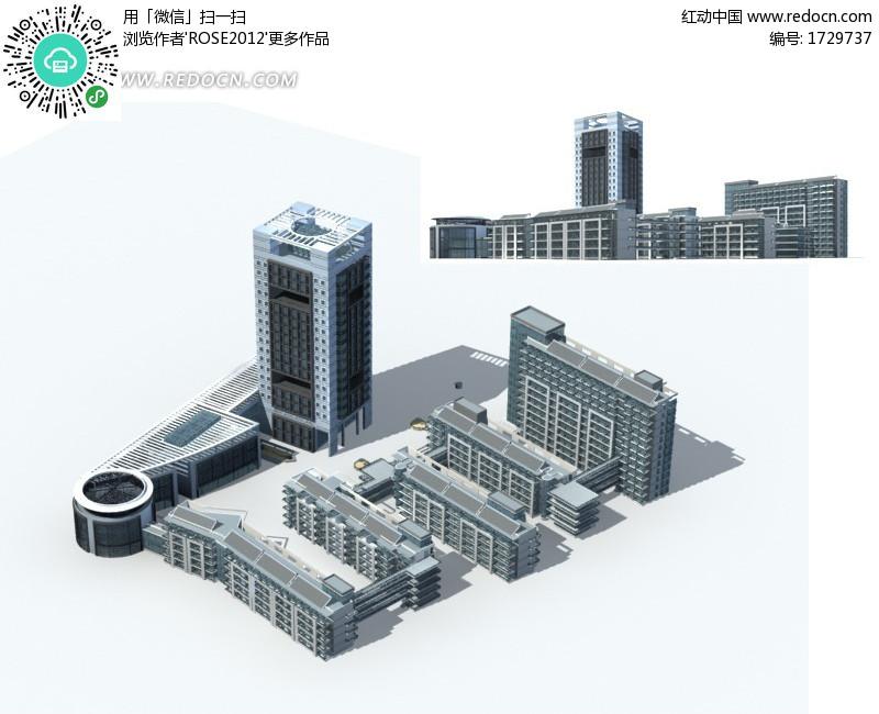 豪华现代风格公共建筑3d立体模型
