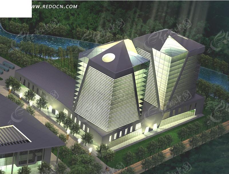 时尚现代风格公共建筑3d模型素材