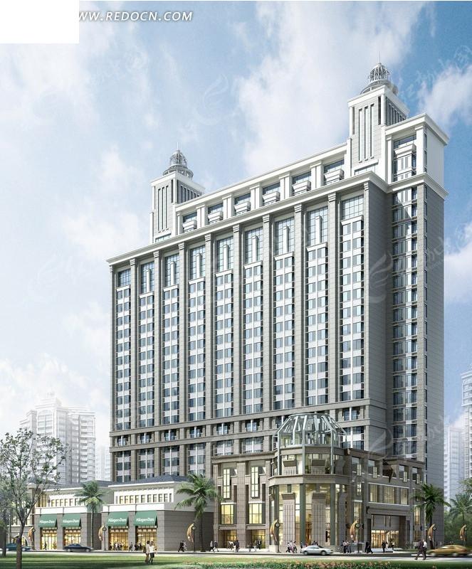 欧式现代风格高层建筑3d立体模型