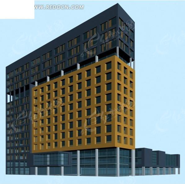 现代唯美风格的公共建筑办公楼3d模型