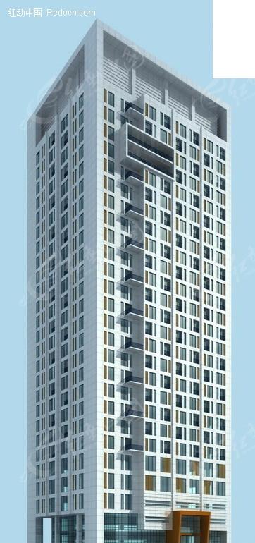 方形高层商业大厦3D模型