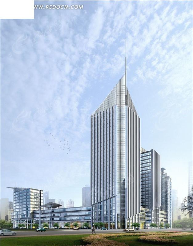 现代化三角锥式高层建筑3d效果图图片