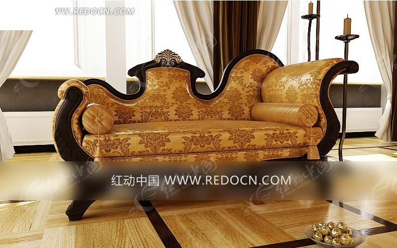 欧式豪华贵妃沙发模型