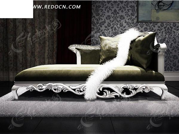 欧式描金贵妃沙发模型