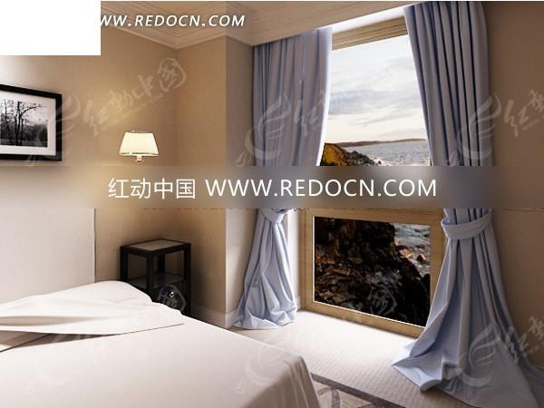 欧式临海落地窗卧室效果图图片