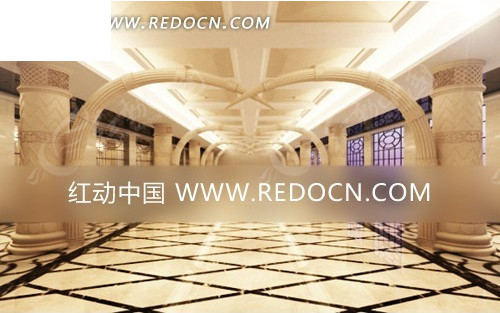 豪华气派创意酒店大厅效果图图片