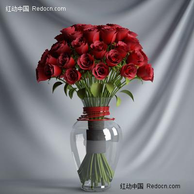 室内玻璃瓶玫瑰花效果图设计