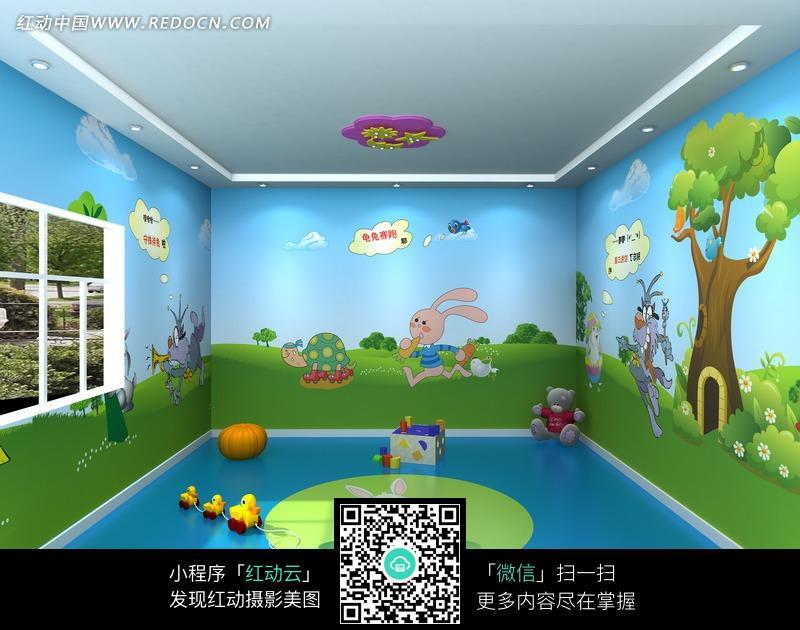 幼儿园活动室壁纸画_室内设计图片