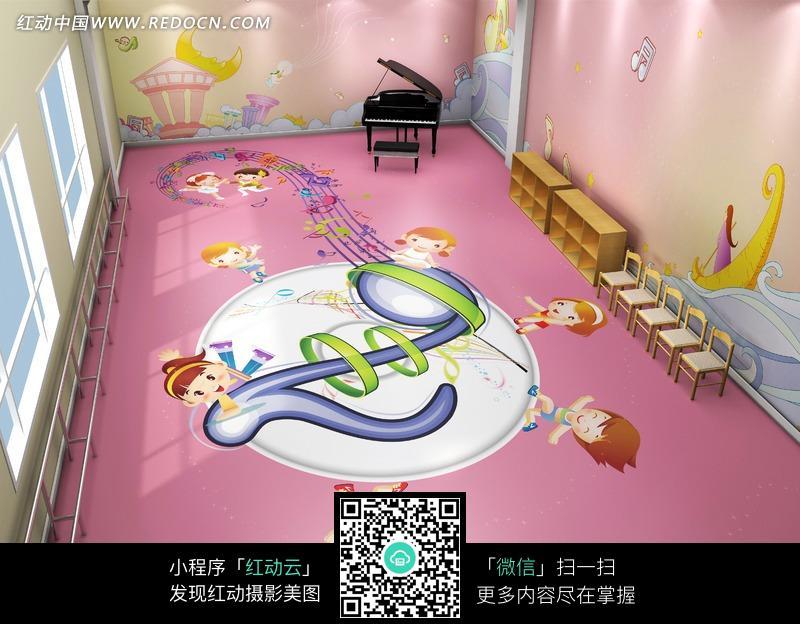 音乐室   卡通墙画 手绘墙画 幼儿园墙画 卡通人物 漫画人物 人物绘画