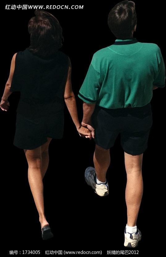 手牵手的情侣背影; 牵手走路的男女背影俯视效果图片; 其他人物