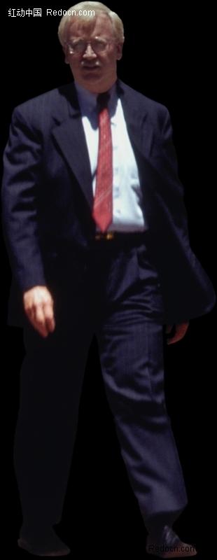 穿黑色西装行走的男人图片