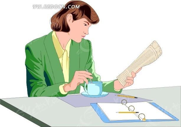 桌前看书喝茶的美女