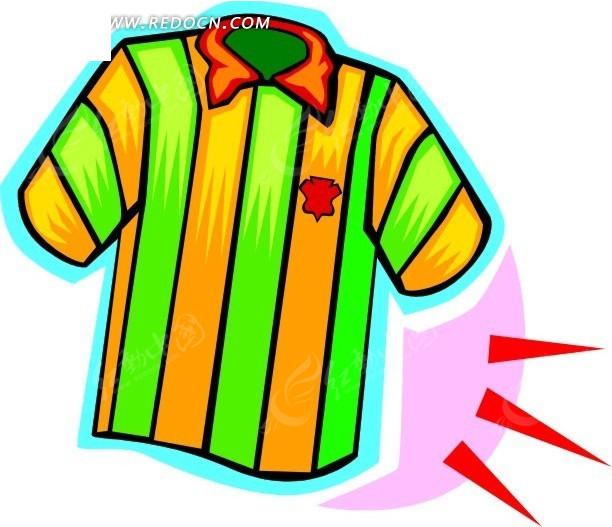 黄绿色t恤手绘插画图片