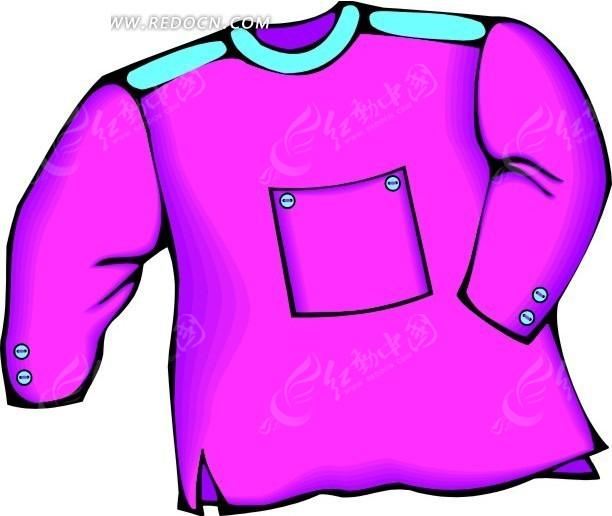 设计 服饰/紫红色调胸口带兜的服饰设计