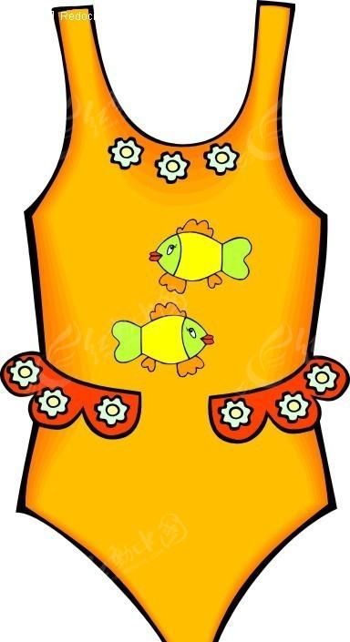 黄色调卡通鱼图案女款泳装
