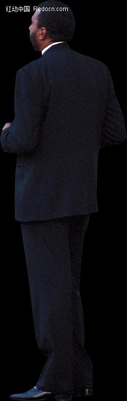 黑色西装的外国男人背影图片