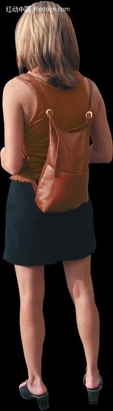 背书包的女孩卡通画_卡通形象_红动手机版