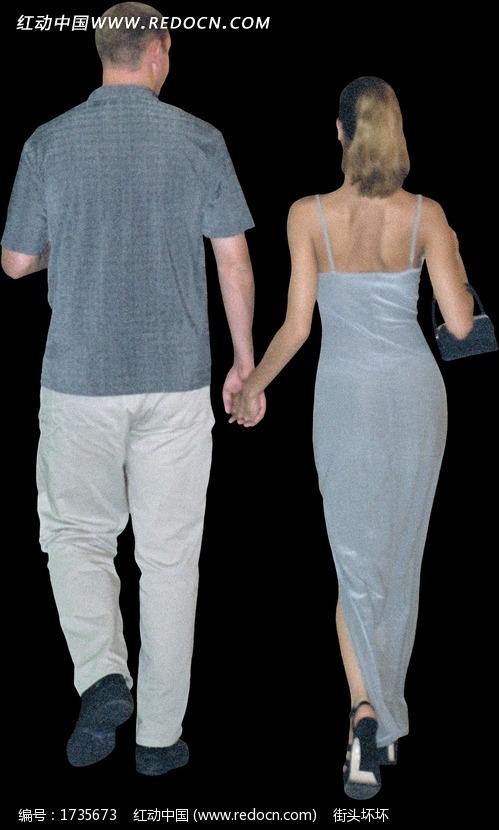 手牵手走路的情侣背影图片