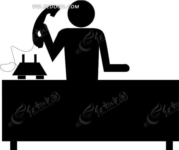 手绘拿着电话的人物剪影