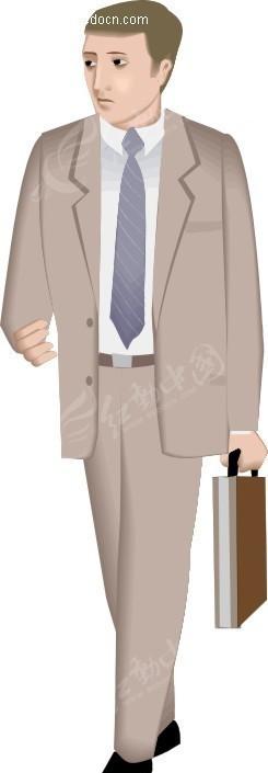 手绘插画提着公文包的商务男士