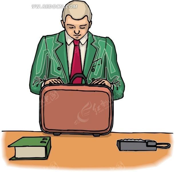检查箱子的男士手绘素材