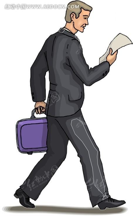 手绘人物提包走路的男士