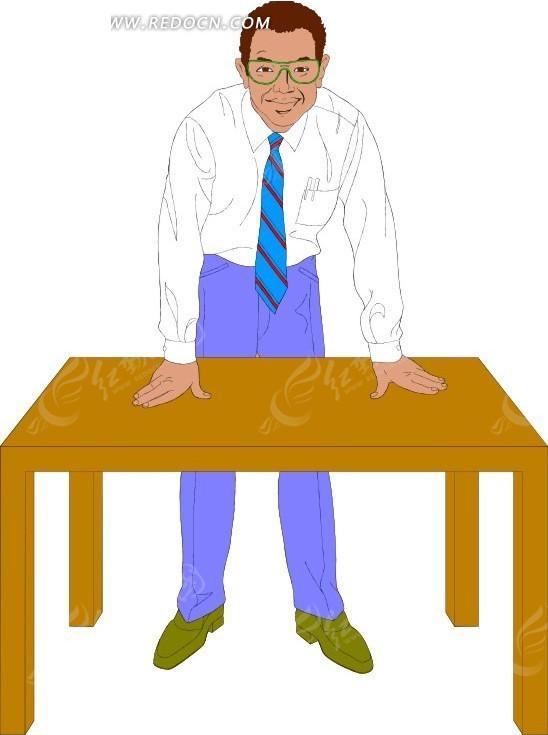 手绘手撑在桌子上的男士