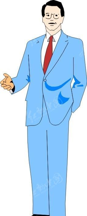 手绘穿蓝西装的男士矢量图