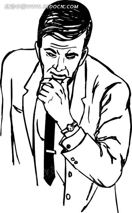 手绘托着下巴沉思的男人图片