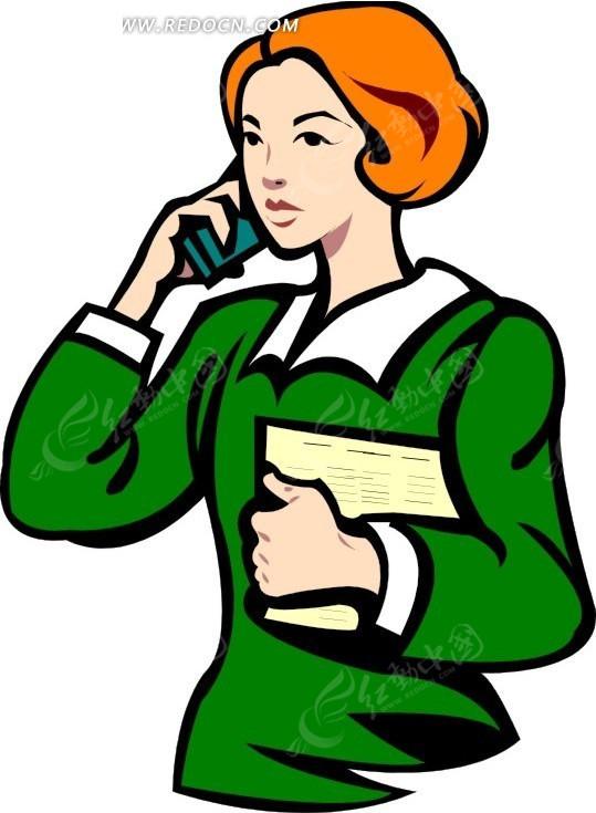手绘打电话的绿衣美女