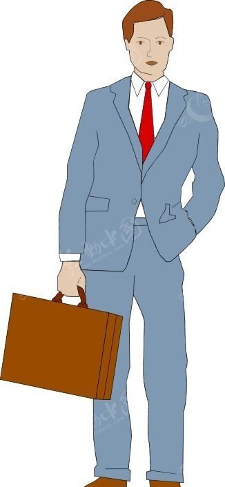 免费素材 矢量素材 矢量人物 职业人物 卡通画提包的蓝衣男士  请您