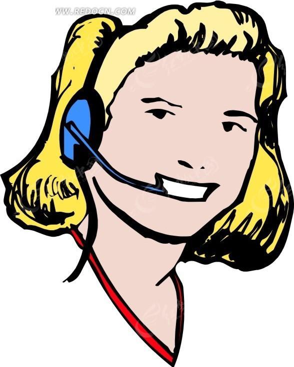 卡通画戴着耳麦的女士矢量图_职业人物