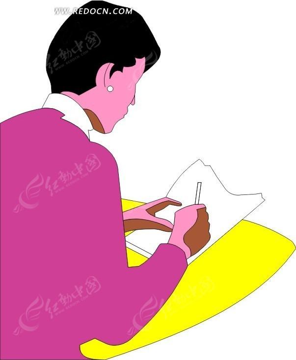 女人粉色手绘画