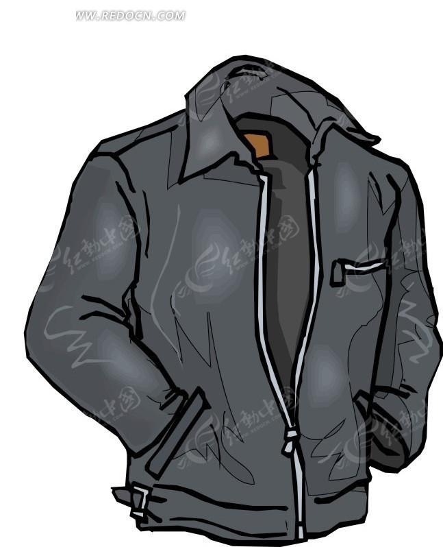 灰色男款翻领夹克设计