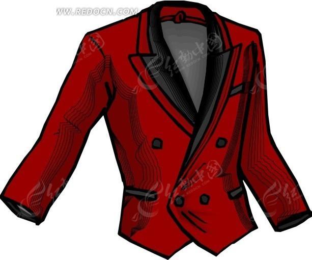 红色调  黑领  西服设计  男装  手绘 衣服  时装  服饰  服装设计