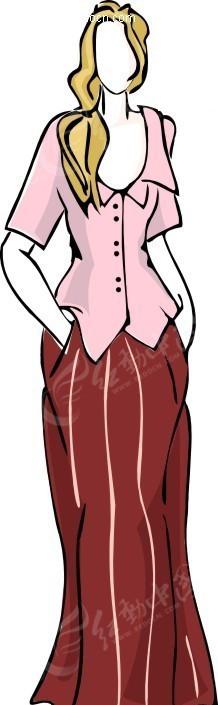 穿长裙子的外国女孩 手绘紫色花朵身穿长裙的 一位穿长裙套装戴墨镜走