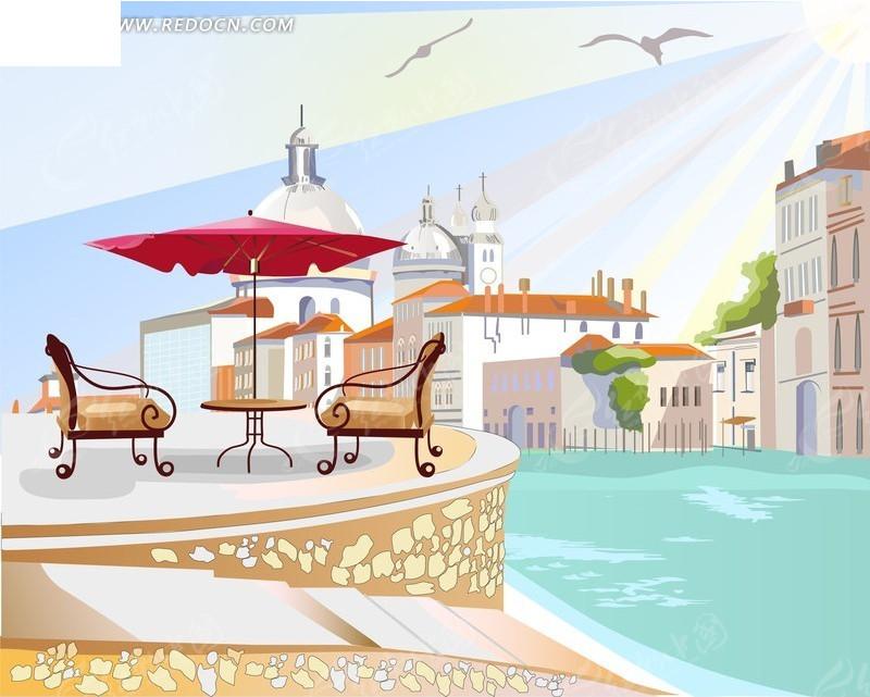 唯美海边城市风景插画矢量素材图片