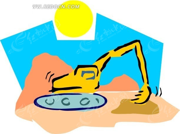 手绘挖掘机
