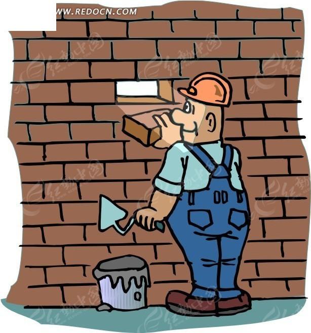 砌墙的卡通人物