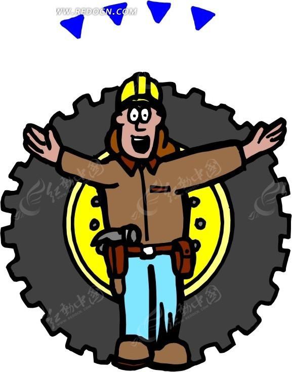 站在汽车轮胎前的修理工高清图片