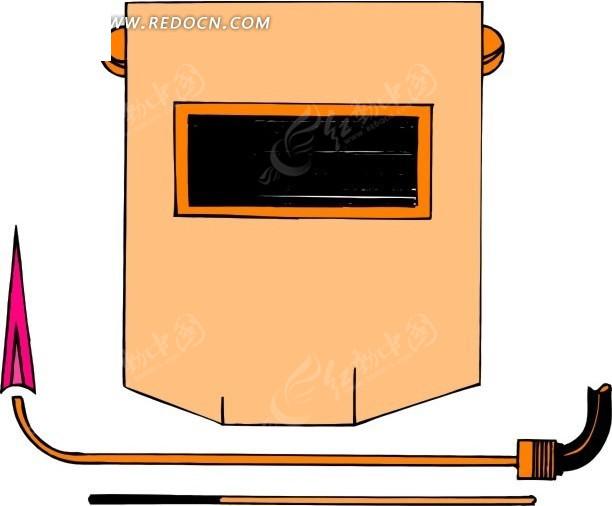 防护罩和电焊枪矢量图