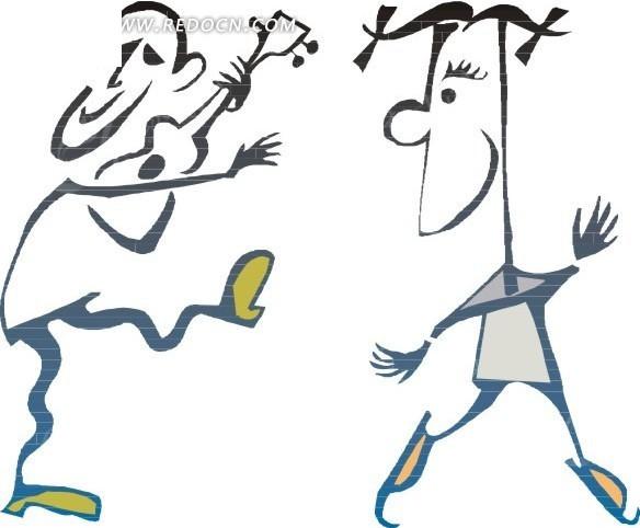 弹吉他跳舞的卡通人物EPS素材免费下载 编号1743103 红动网