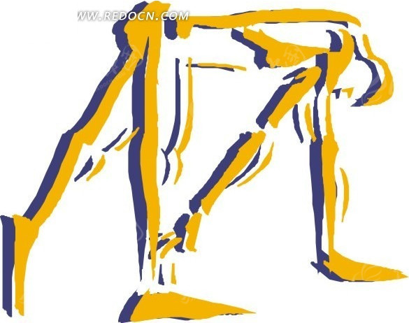 手绘黄色弯腰小人 手绘 黄色 弯腰小人 eps素材 矢量 矢量素材 插画