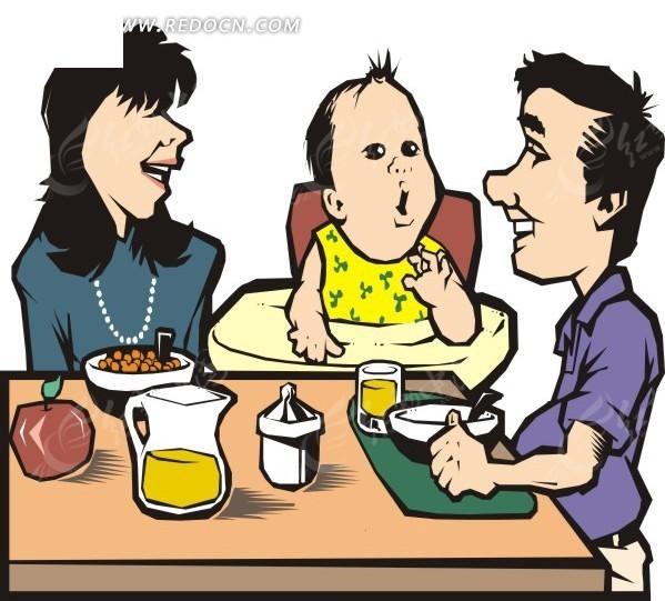 吃饭的一家三口 吃饭 一家三口 eps素材 矢量 矢量素材 插画 卡通