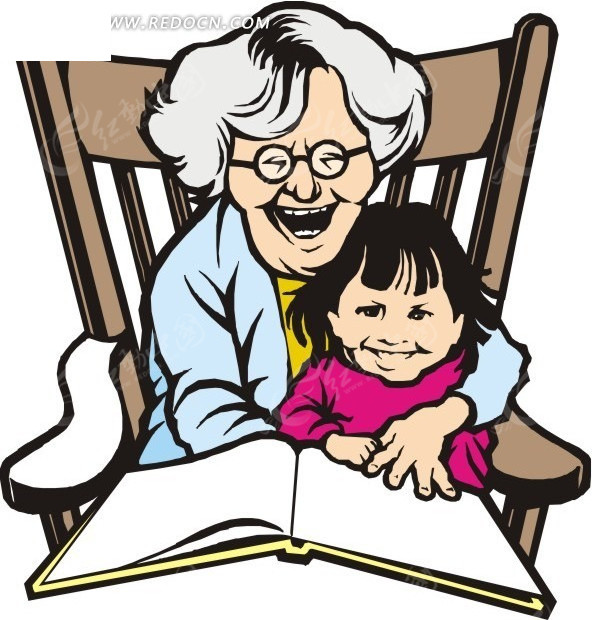 哄小孩看书的奶奶