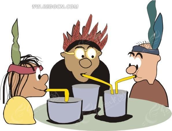 桌前喝饮料的卡通人物