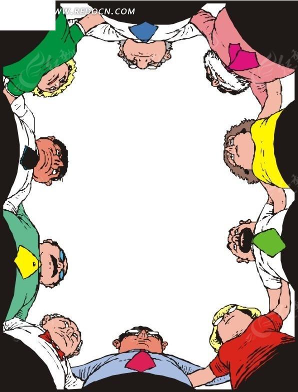 围成一圈的卡通人物仰视效果