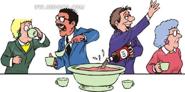 疯狂品尝红酒的卡通人物