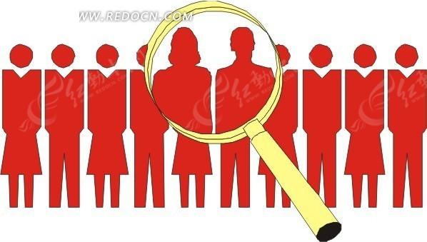 免费素材 矢量素材 矢量人物 日常生活 一排站立的男女剪影和放大镜