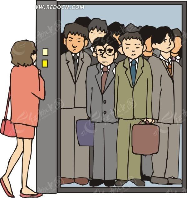 卡通 电梯超载